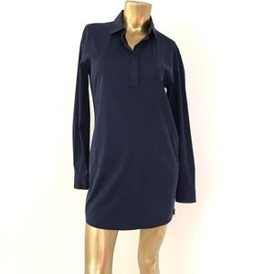 PRADA LONG SLEEVE COLLARED SHIRTDRESS NAVY SZ 44